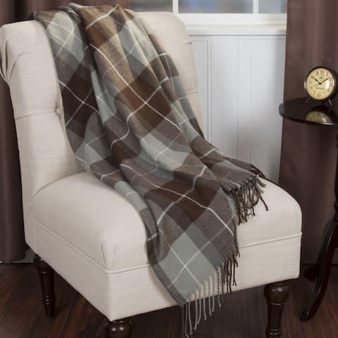 Windsor Home Brown Plaid Cashmere Like Throw