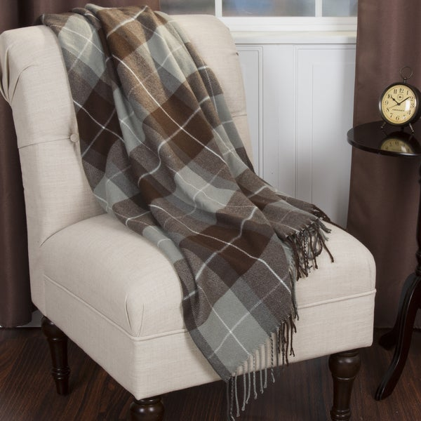 Windsor Home Brown Plaid Cashmere Like Throw