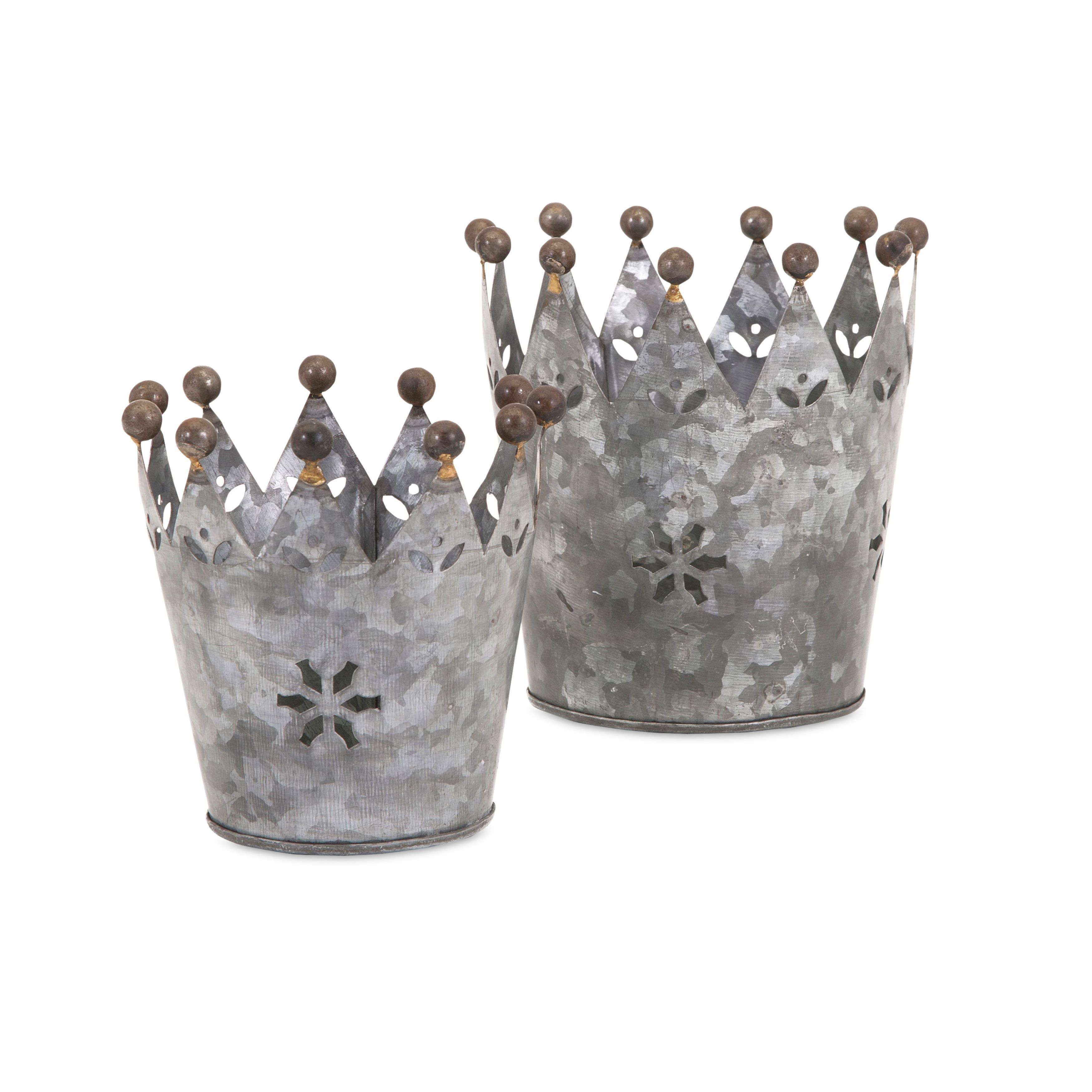 IMAX Maddy Galvanized Crowns (Set of 2) (Planter/Hanger/S...