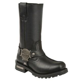 Women's Black 11-inch Classic Harness Square-toe Boot