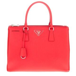 Prada Red Calfskin Double-Zip Galleria Tote Bag