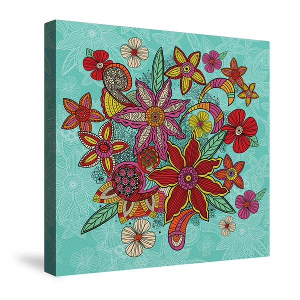 Laural Home Boho Flowers Turquoise Canvas Wall Art