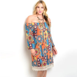 Shop the Trends Women's Plus Size Long Sleeve Off The Shoulders Dress With Allover Mixed Tribal Print and Crochet Trim Along Hem