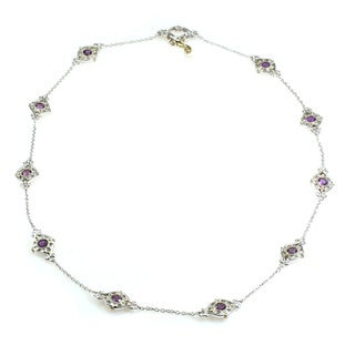 One-of-a-kind Michael Valitutti Round Amethyst with Round Blue Sapphire Necklace