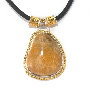 One-of-a-kind Michael Valitutti Fossil Coral with Citrine Pendant