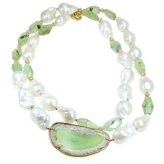 One-of-a-kind Michael Valitutti Green Agate Slice with Prenhite and Baroque Pearl Necklace|https://ak1.ostkcdn.com/images/products/11771402/P18684142.jpg?impolicy=medium