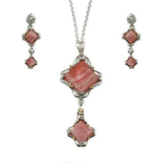 One-of-a-kind Michael Valitutti Square Rhodocrosite and White Sapphire Earring and Necklace Set