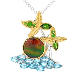One-of-a-kind Michael Valitutti Round Cabochon Ammolite with Multi Chrome Diopside and Multi Swiss Blue Topaz Beach Pendant