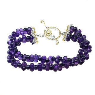 One-of-a-kind Michael Valitutti Amethyst Bead Two Strand Toggle Bracelet