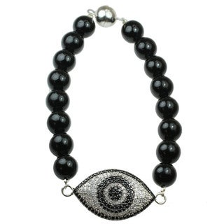 One-of-a-kind Michael Valitutti Black and White Cubic Zirconia Eye Bracelet