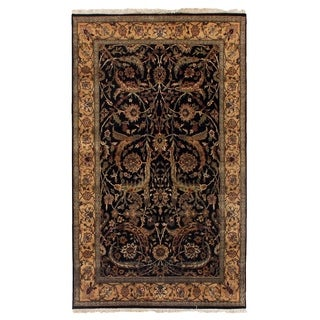 Exquisite Rugs Agra Black / Gold New Zealand Wool Round Rug (6' x 6')