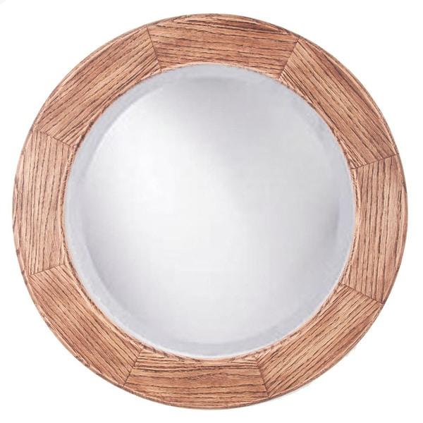 Adonai Red Mahogany Rustic Oak 26 Inch Round Mirror Brown Cherry