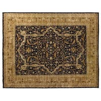 Exquisite Rugs European Polonaise Round Black / Gold New Zealand Wool Round Rug (12' x 12')
