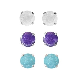 Set of 3-pair Sterling Silver 4.25-mm White/ Violet Turquoise Ice Cubic Zirconia Stud Earrings