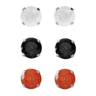 Set of 3-pair Sterling Silver 8-mm White/ Black/ Orange Ice Cubic Zirconia Stud Earrings