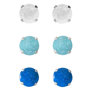 Set of 3-pair Sterling Silver 8-mm White/ Turquoise/ Blue Ice Cubic Zirconia Stud Earrings