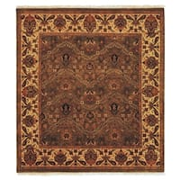 Exquisite Rugs Agra Olive / Gold New Zealand Wool Round Rug - 12' x 12'