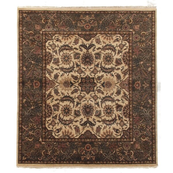 Shop Persian Oriental New Zealand Wool Area Rug: Shop Exquisite Rugs Agra Gold / Green New Zealand Wool