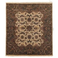 Exquisite Rugs Agra Gold / Green New Zealand Wool Round Rug - 8' x 8'