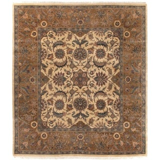 Agra Gold / Brown New Zealand Wool Round Rug (8')