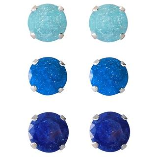Set of 3-pair Sterling Silver 9-mm Light Purple/ Blue/ Bright Blue Ice Cubic Zirconia Stud Earrings