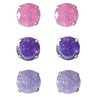 Set of 3-pair Sterling Silver 9-mm Pink/ Violet/ and Light Purple Ice Cubic Zirconia Stud Earrings