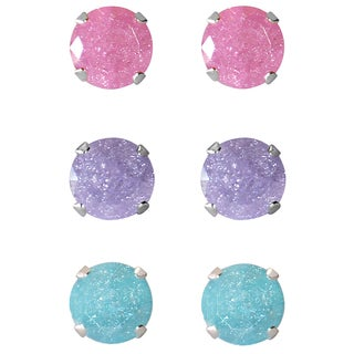 Set of 3-pair Sterling Silver 8-mm Pink/ Light Purple/ Turquoise Ice Cubic Zirconia Stud Earrings