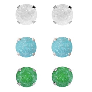 Set of 3-pair Sterling Silver 9-mm White/ Turquoise/ Green Ice Cubic Zirconia Stud Earrings