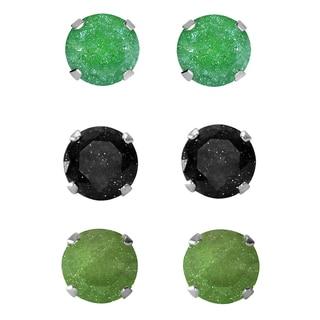 Set of 3-pair Sterling Silver 9-mm Green/ Black/ Dark Green Ice Cubic Zirconia Stud Earrings