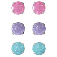 Set of 3-pair Sterling Silver 9-mm Pink/ Light Purple/ Turquoise Ice Cubic Zirconia Stud Earrings