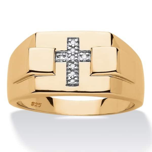 e47d2bc352df7 Shop 14k Gold over Silver Men's Diamond Accent Religious Cross Ring ...