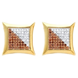 Sterling Silver 1/3ct TDW White and Red Round Diamond Micro Pave Kite Earrings (I-J, I2-I3)