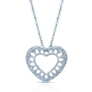 18k White Gold 5/8ct TDW Diamond Heart Pendant (H-I, VS1-VS2)