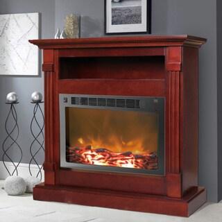 Cambridge Sienna Mahogany Fireplace Mantel with Electronic Fireplace Insert
