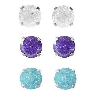 Set of 3-pair Sterling Silver 9-mm Pink/ Turquoise/ Bright Blue Ice Cubic Zirconia Stud Earrings