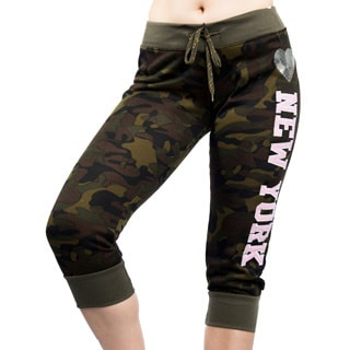 Special One Active Army Camouflage & Applique Print Fleece Capri Leggings