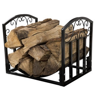 Pure Garden Fireplace Log Bin with Scrolls - Black