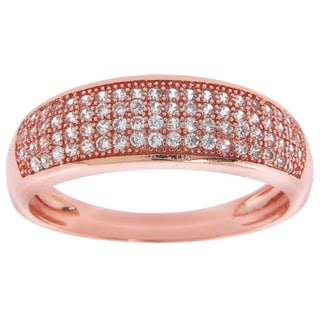 Eternally Haute Rose Gold Overlay Cubic Zirconia Pave 4-row Anniversary Band