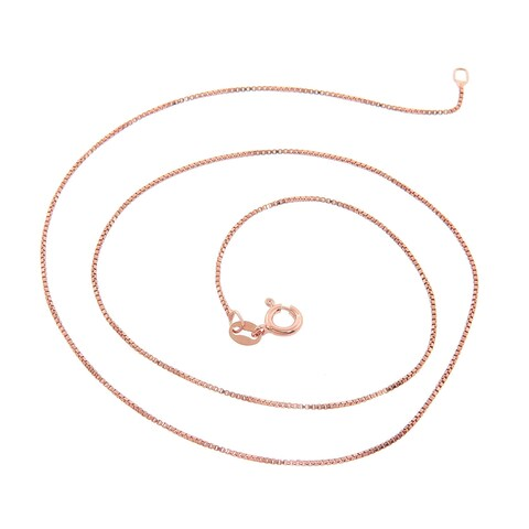 Eternally Haute 14k Rose Gold over Silver Box Chain - Pink