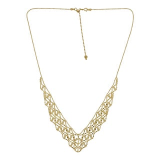 Decadence 14k Yellow Gold Beaded V-shape Bib Necklace