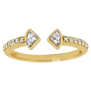 14k Yellow Gold 1/3ct TDW Diamond Anniversary Opne Band Ring