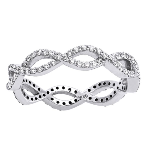 14k White Gold 1/2ct TDW Diamond Infinity Eternity Band Ring