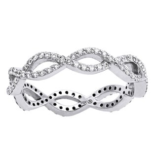 14k White Gold 1/2ct TDW Diamond Infinity Eternity Band Ring