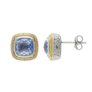 SIRI USA 14k Yellow Gold over Silver Blue Synthetic Quartz and Cubic Zirconia Earrings