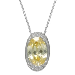 SIRI USA Sterling Silver Canary Cubic Zirconia and White Cubic Zirconia Necklace