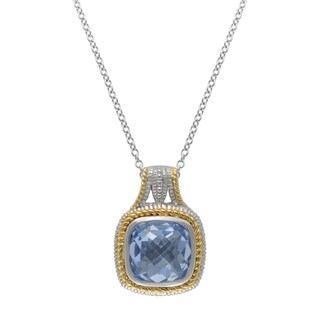 SIRI USA 14k Yellow Gold over Silver Blue Synthetic Quartz and Cubic Zirconia Pendant