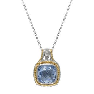 SIRI USA 14k Yellow Gold over Silver Blue Synthetic Quartz and Cubic Zirconia Pendant|https://ak1.ostkcdn.com/images/products/11771662/P18684339.jpg?impolicy=medium