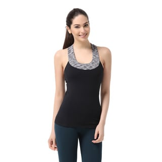 Sportown Women's Contrast Scoop Neck Yoga Tank Top With Built-in Shelf Bra