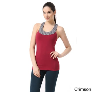 Sportown Women's Contrast Scoop Neck Yoga Tank Top With Built-in Shelf Bra