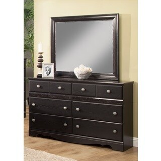 Sandberg Furniture Vienna 6-Drawer Black Dresser and Mirror